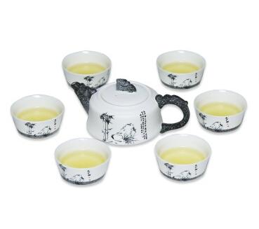 雪花釉墨竹茶具